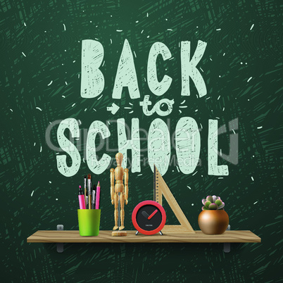 Back to school, template with schools workspace supplies, vector illustration.