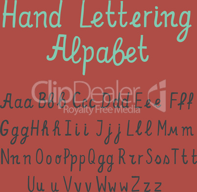 Hand lettering alphabet, vector illustration.