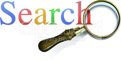 Search word with magnifying glass, vector illustration.