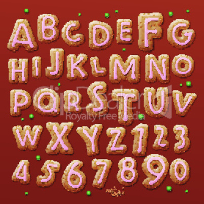 Christmas gingerbread cookies alphabet and numbers, vector illustration.
