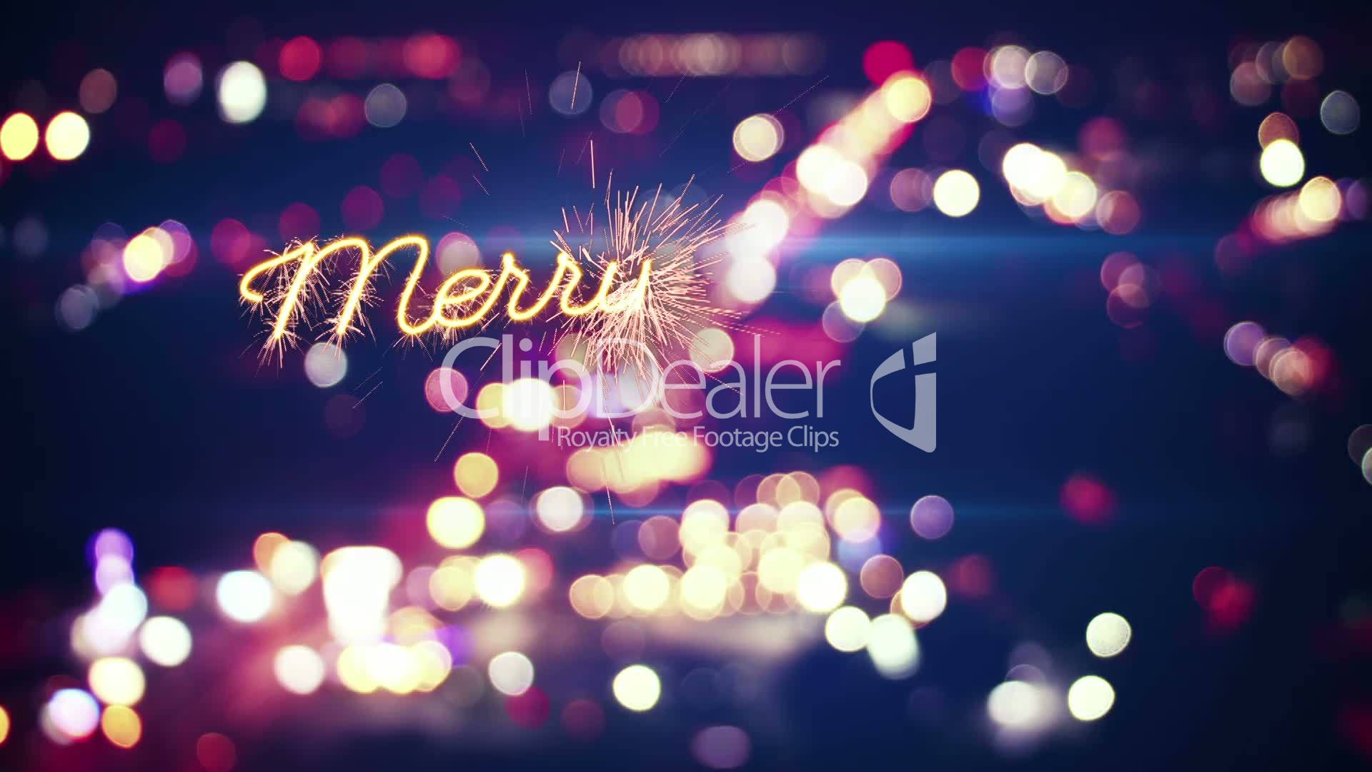 Merry christmas sparkler greeting and city bokeh last 5 seconds loop merry christmas m4hsunfo