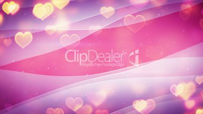glowing heart shapes and curved lines loopable background