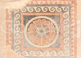 Ancient mosaic floor from  King Herod palace in Masada