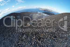 Fisheye view of Grand (Fossa) crater of Vulcano island near Sicily, Italy