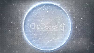 neon glowing circle on metal loop background