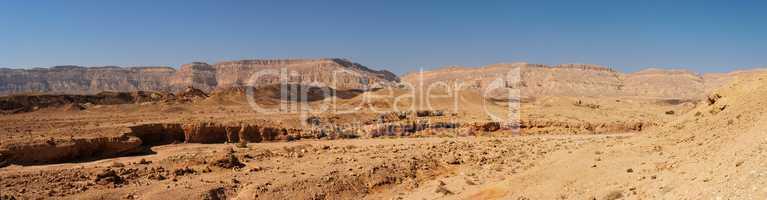 Scenic desert landscape in the Small Crater (Makhtesh Katan) in Israel's Negev desert