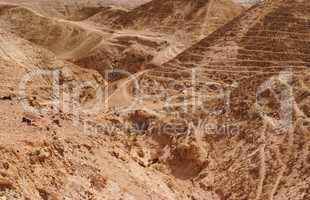 Textured orange dunes in the desert