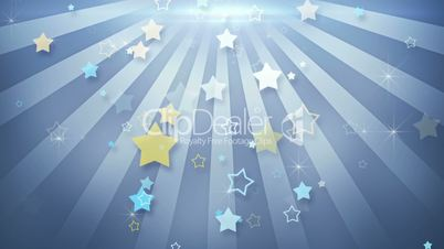 star shapes falling in circular rays loop animation