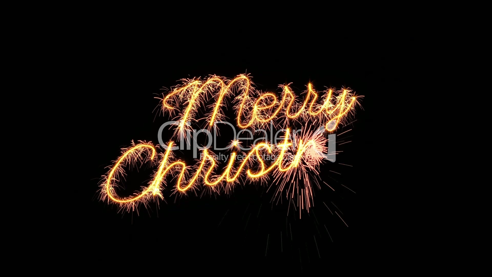 sparkler text animation merry christmas new year greeting loopable ...