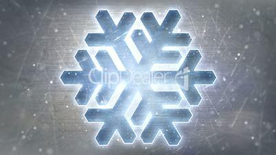 glowing neon christmas snowflake on metal loopable
