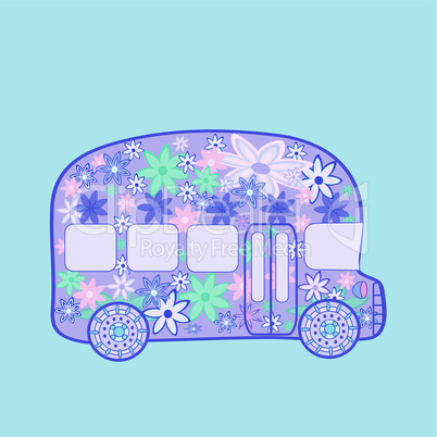 ?us retro vintage flowers hippie transport
