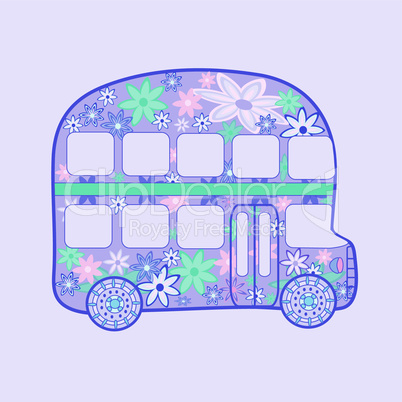 double-Decker bus retro vintage flowers hippie transport
