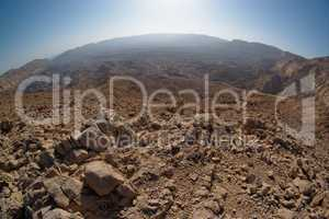 Fisheye view of the desert canyon in the Small Crater (Makhtesh Katan) in Negev desert, Israel