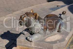 Bronze lion statue near the fountain in Jerusalem, Israel