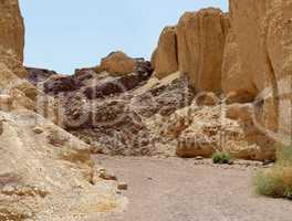 Scenic trek in the desert canyon, Israel