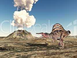 Vulkan und der Dinosaurier Spinosaurus