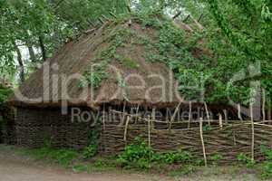 Farmer's barn under the thatch roof in open air museum, Kiev, Ukraine