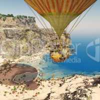 Fantasie Heißluftballon über einer Küstenlandschaft