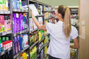 pretty blonde buy products with her trolley