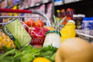 A trolley with healthy food