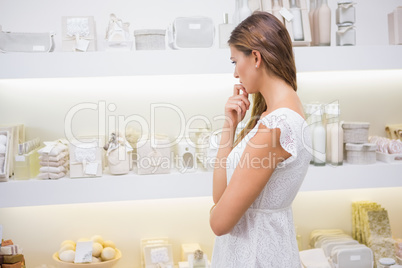 Focused woman browsing products