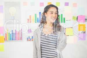 Pretty designer looking at post its on window