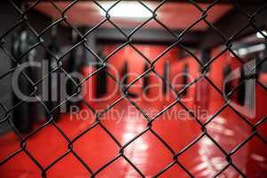Boxing area behind fence