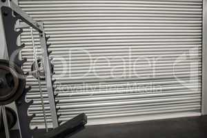 Grey shutters with weights in front