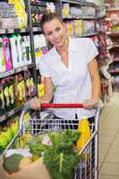 woman buy products with her trolley