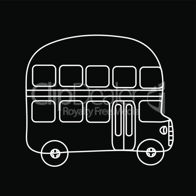 Symbol double-Decker bus black background
