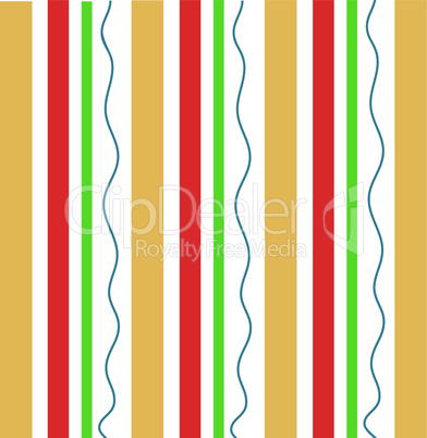 Vertical orange and red stripes with a wavy green line abstract geometric pattern