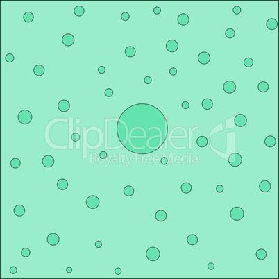 Turquoise abstract background with circles of different sizes