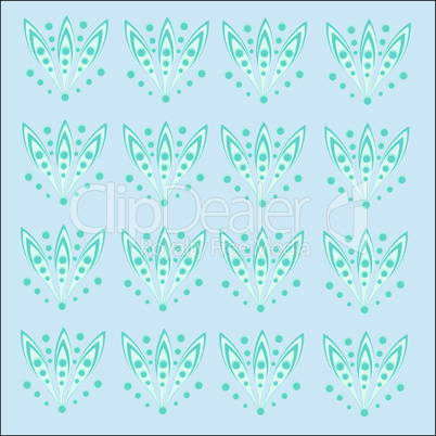 Floral pattern of dots turquoise abstract natural background
