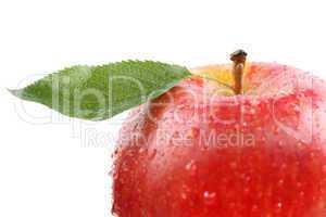 Roter Apfel Frucht mit Blatt Freisteller