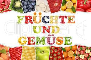 Wort Früchte und Gemüse Obst wie Apfel, Tomate, Orange