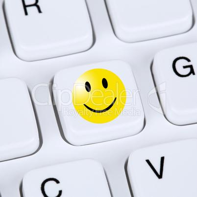 Computer Konzept Glücklich Smiley Symbol Bewertung Feedback