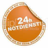 3D Aufkleber - 24h Notdienst Service rund um die Uhr orange