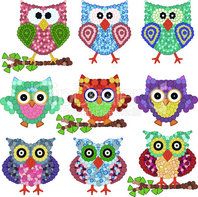 Set of nine ornamental owls