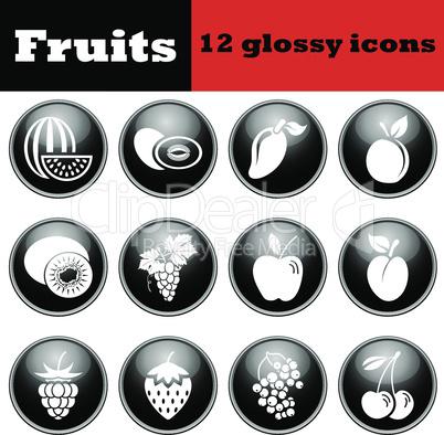 Set of fruit glossy icons