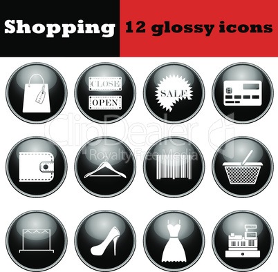 Set of shopping glossy icons
