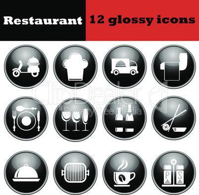 Set of restaurant glossy icons