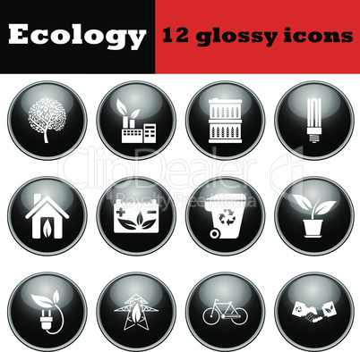 Set of ecological glossy icons