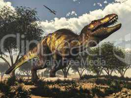 Tyrannosaurus rex dinosaur protecting its eggs - 3D render