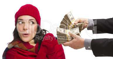 Mixed Race Young Woman Being Handed Thousands of Dollars