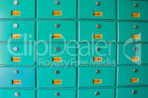Postal box with numbers and locks