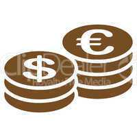 Coins dollar euro icon from BiColor Euro Banking Set