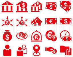 Bank service and trade business icon set.