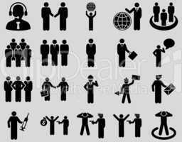 Management and people occupation icon set.