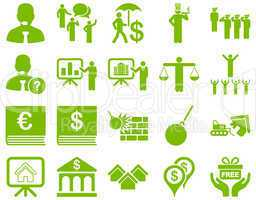 Bank service and people occupation icon set.