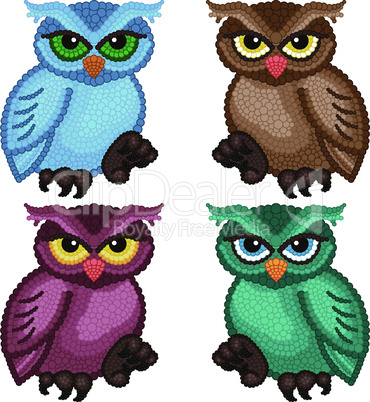 Set of four ornamental owls
